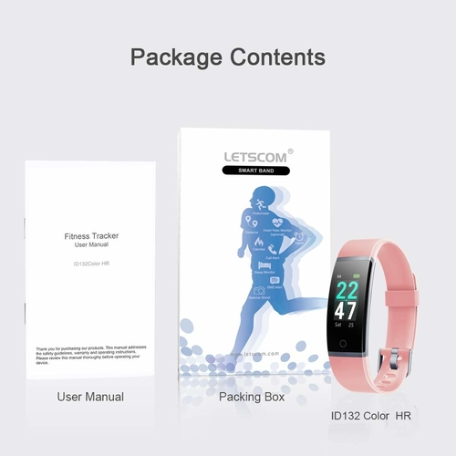 LETSCOM Fitness Tracker with Heart Rate Monitor, Color Screen Activity Tracker Watch, IP68 Waterproof Pedometer Sleep Monitor Step Counter Calorie Counter for Women Men Kids (Pink)