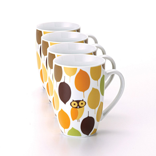 Rachael Ray Dinnerware Little Hoot Mug Set, 4-Piece