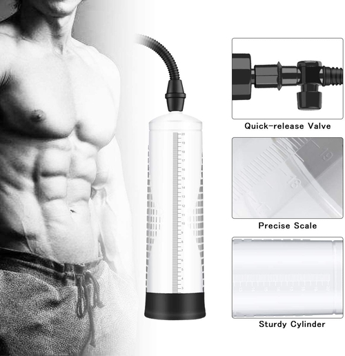 BOMBEX Vacuum Penis Pump, Manual Penis Enlarger for Male Erection & Enhancement, Penis Massage & Stimulation Device with Male Stroker