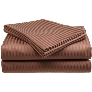 Divatex 400 Thread Count Woven Dobby Stripe Cotton Sateen Sheet Set (Chocolate) (California King)