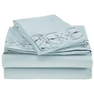 Ultimate Luxury Microfiber Embroidered Sheet Set (Sky) (Full)