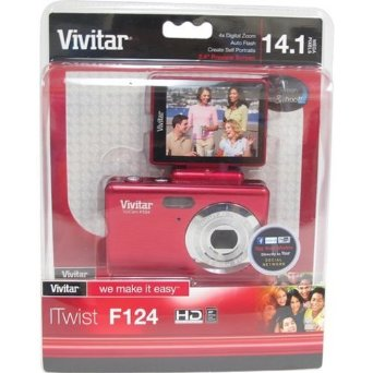 Vivitar 14MP Digital Camera w/ Flip Screen - Red (VF124)