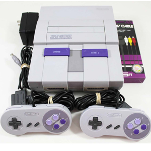 Super Nintendo SNES System Console (4 Controllers, Super Mario World, Krusty\'s Super Fun House, Donkey Kong Country)