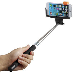 Selfie Stick, Flexion QuickSnap Pro 3-In-1 Self-portrait Extendable Wireless Bluetooth Selfie Stick with built-in Bluetooth Remote (Black)