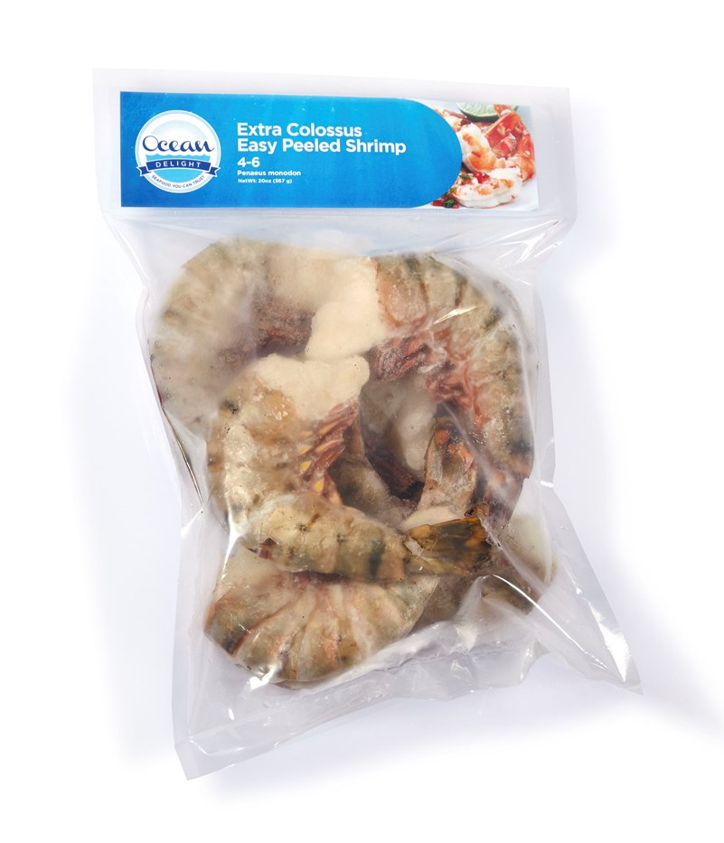 OCEAN DELIGHT: SHRIMP EXTRA COLOSSUS BLACK TIGER RAW EASY PEEL 4-6 - 20 OZ (SHELLFISH)