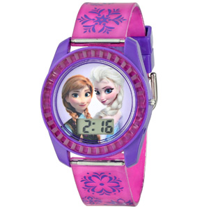 Disney Kids\' FZN3598 Frozen Anna and Elsa Digital Watch with Purple Snowflake Band