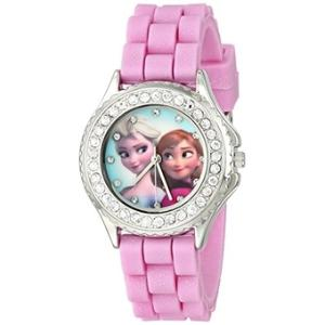 Disney Kids\' FZN3554 Frozen Anna and Elsa Rhinestone-Accented Watch with Glittered Pink Band