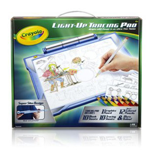 Crayola Light-up Tracing Pad; Blue; Art Tool; Bright LEDs; Easy Tracing with 1 Pencil, 12 Colored Pencils, 10 Blank Sheets, 10 Tracing Sheets