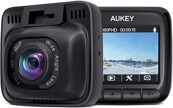 AUKEY Dash Cam Mini FHD 1080P Car Camera with Supercapacitor and 170 Degrees Wide Angle Dash Camera for Cars with 2 inches LCD, G-Sensor, Motion Detection and Dual-Port Car Charger