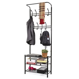 MULTI-FUNCTIONAL RACK - Garment Rack with Shelves 3-Tier Shoes Rack,Coat Rack Hooks,Clothes Rack with Hanger Bar (Black)