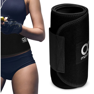 Waist Trimmer, Maxboost Premium Weight Loss Ab Belt for Men & Women [Black, Classic Medium] Workout Sweat Enhancer Exercise Adjustable Wrap for Stomach- Enjoy Sweet Abdominal Muscle & Back Support