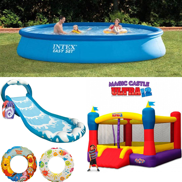 Wet and Wild Birthday Combo - 13ft Pool, Surf \'N Slide Play Center & Bouncy Castle (RENT)