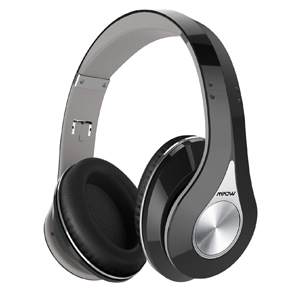 Mpow 059 Bluetooth Headphones Over Ear, Hi-Fi Stereo Wireless Headset, Foldable, Soft Memory-Protein Earmuffs, w/Built-in Mic and Wired Mode for PC/Cell Phones/TV (BLACK-GREY)