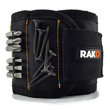 RAK Magnetic Wristband with Strong Magnets for Holding Screws, Nails, Drill Bits - Best Unique Christmas Gift for Men, DIY Handyman, Father/Dad, Husband, Boyfriend, Him, Women (Black)