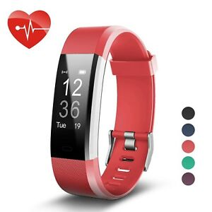 LETSCOM Fitness Tracker HR, Activity Tracker Watch with Heart Rate Monitor, Waterproof Smart Bracelet with Step Counter, Calorie Counter, Pedometer Watch for Kids Women and Men (Red)
