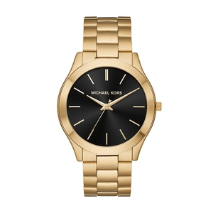 Michael Kors Men\'s Slim Runway Quartz Gold Watch with Stainless Steel Strap