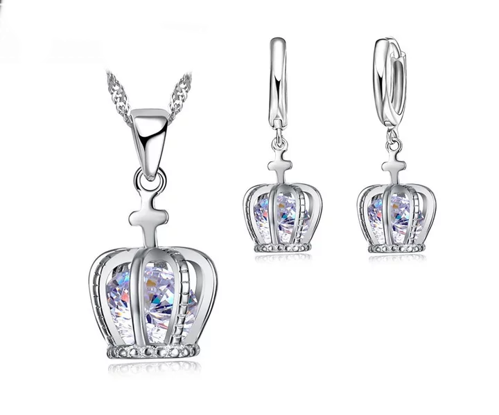 Ladies Silver Crown of Royalty Cubic Zirconia Sets