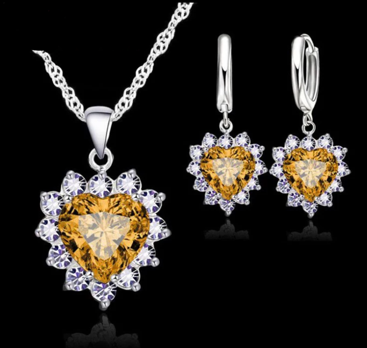 Ladies Silver Champagne/Cubic Zirconia Heart Flower Set