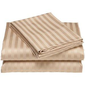 Wrinkle Resistant 300-Thread Count Woven Stripe Cotton Sheet Set (Fawn) (King)