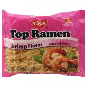 NISSIN TOP RAMEN SPICY SHRIMP FLAVOR NOODLE SOUP 85G