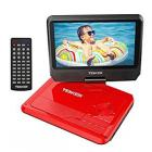 "TENKER 9.5"" Portable DVD Player with Swivel Screen, Rechargeable Battery and SD Card Slot & USB Port"