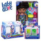 Baby Alive Sweet Spoonfuls Baby Black Curly Hair Doll, Bundle Exclusive, Doll Food and Diaper Refill, Toy for Kids 3 Years Old and Up
