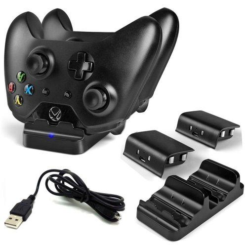 Dobe Xbox One S Controller Dual Charging Dock with 2 Rechargable Batteries