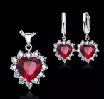 Ladies Silver Heart Flower Cubic Zirconia Set