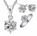 Ladies Silver Solitaire Cubic Zirconia Set with Ring