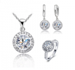 Ladies Silver Round Cubic Zirconia Set with Ring